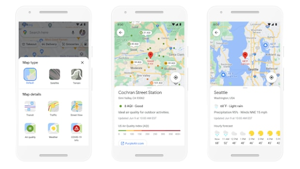 Information about weather and air quality will also be shown in Google Maps in the future.