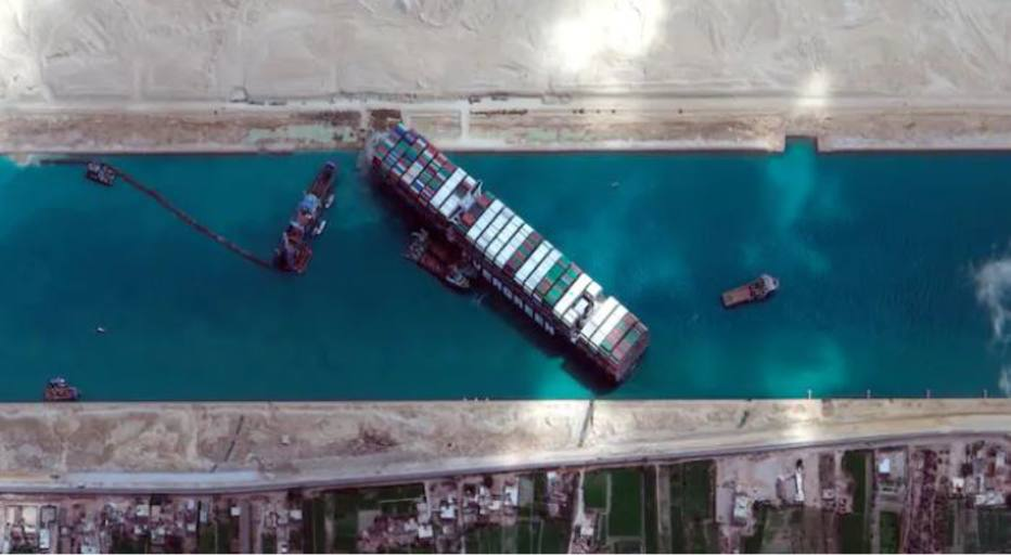 How many hours ago it was until the Evergiven ship was cut off in the Suez Canal – International