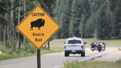 In this file photo from July 31, 2016, a ranger and a group of motorcyclists pass a bison warning sign inside the Grand Canyon National Park in northern Arizona.  (AP Photo / Susan Montoya Brian)