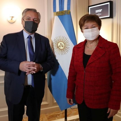 Alberto Fernandez during his meeting with Kristalina Georgieva, President of the International Monetary Fund (Reuters)