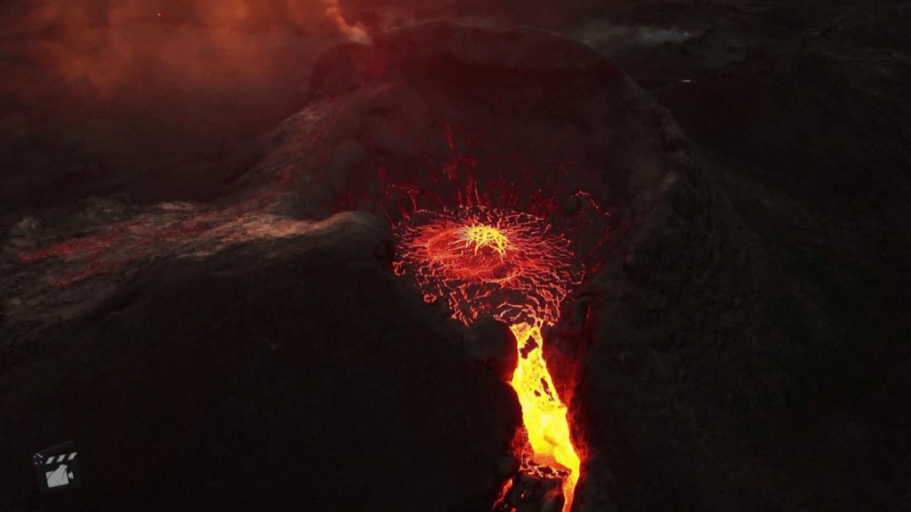 Lava from a volcano in Iceland viewed from the air