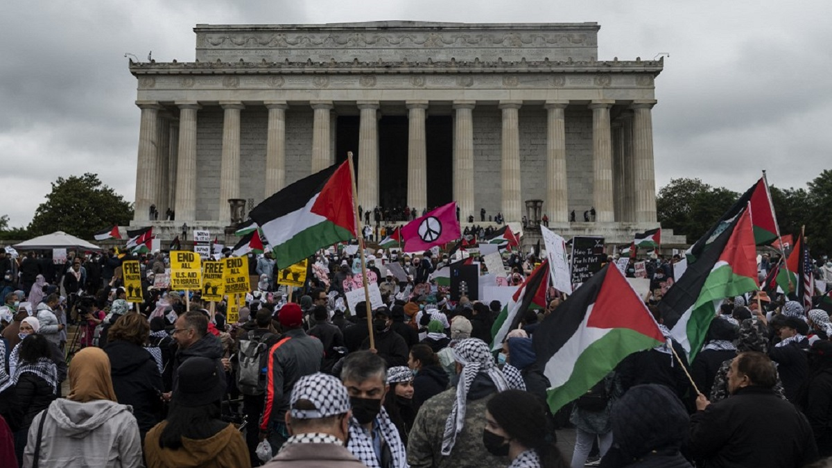 The Palestinians in Washington are calling for an end to US support for Israel