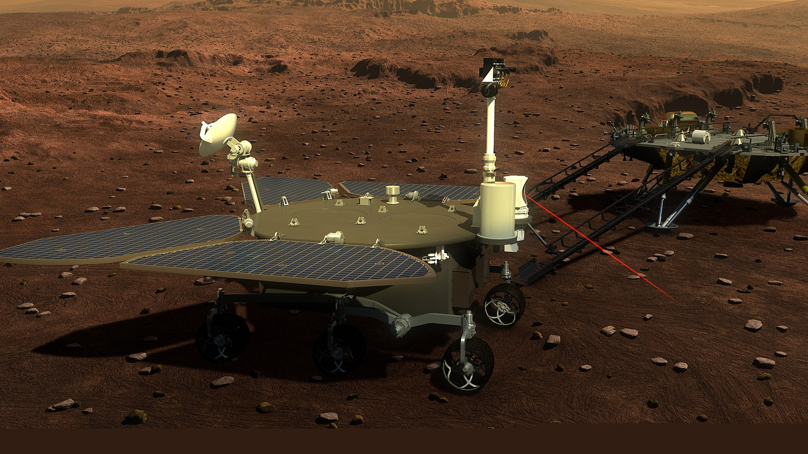 Illustration by an artist depicting the Mars rover in the Tianwen-1 mission.  Illustration: China National Space Agency