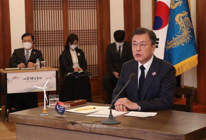 South Korean President Moon Jae-in speaks at the Virtual Climate Leaders Summit