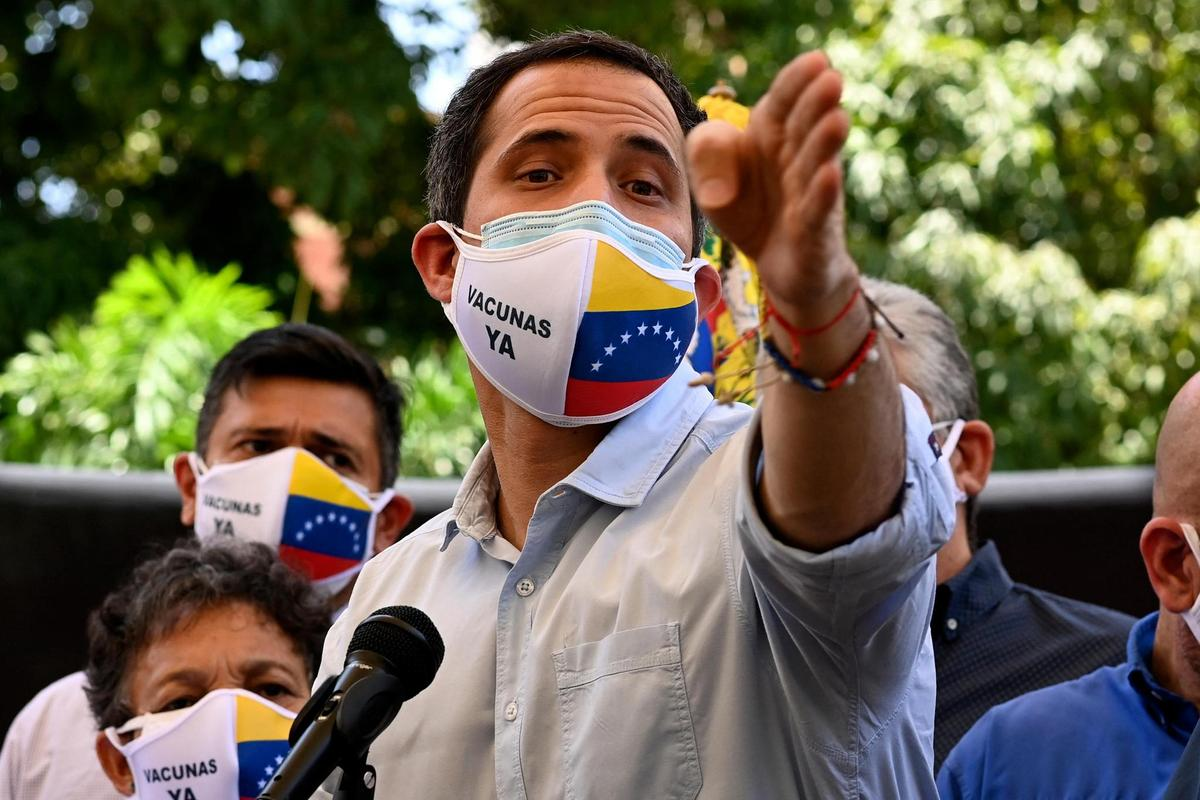 Opponent Juan Guaido in Caracas on May 12, 2021.