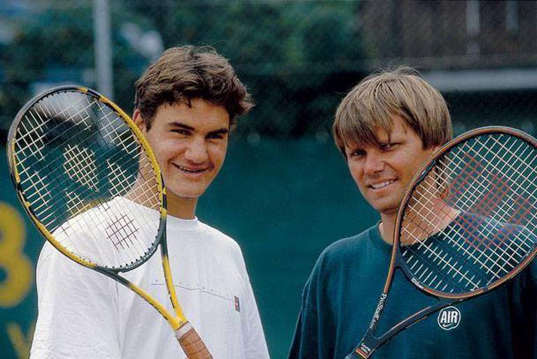 Roger Federer Teenager and Trainer Peter Carter.