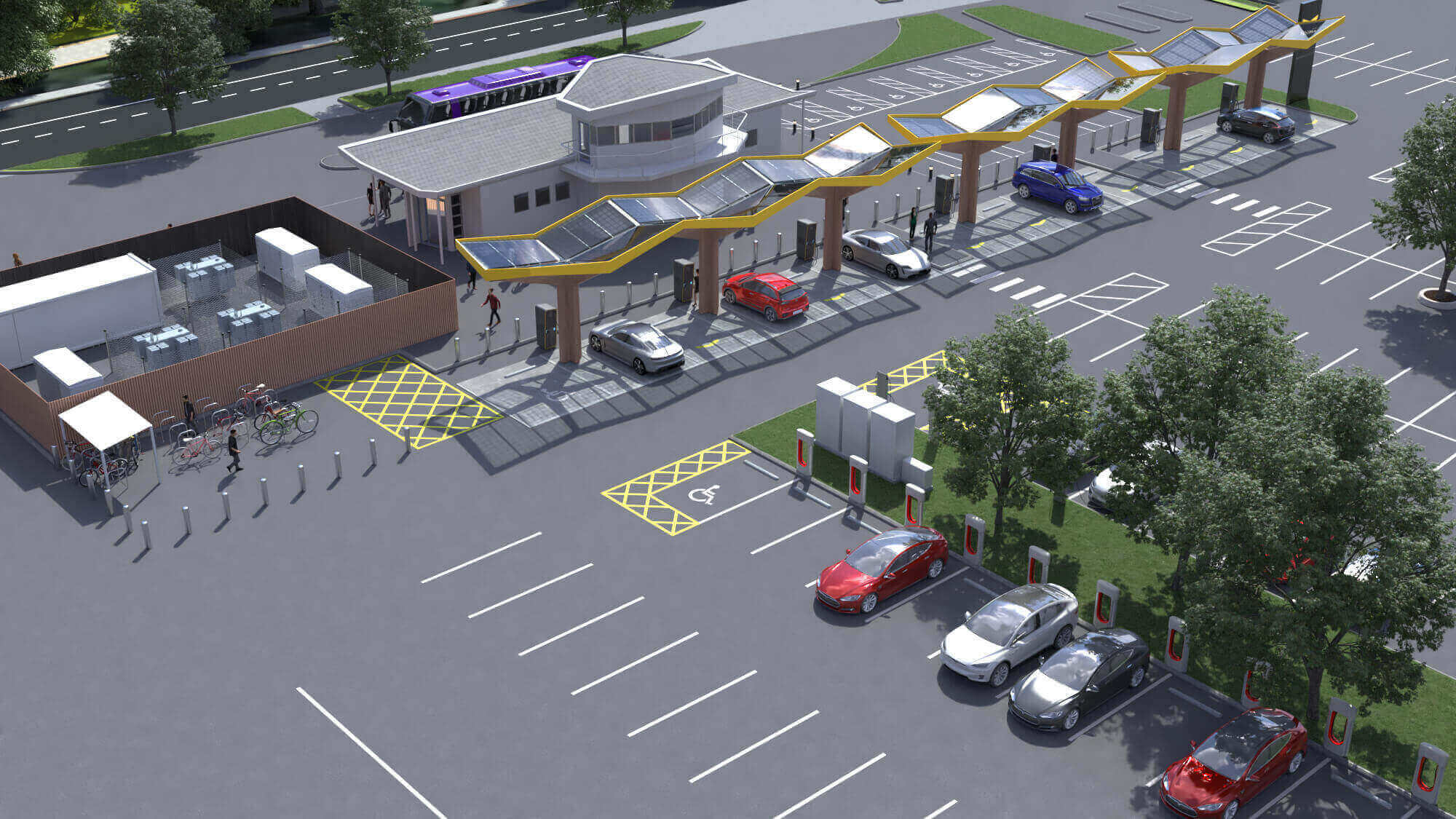The largest electric vehicle charging center in Europe will be in the UK and will score points from Fastned, EDF Renewables, Tesla and Wenea.