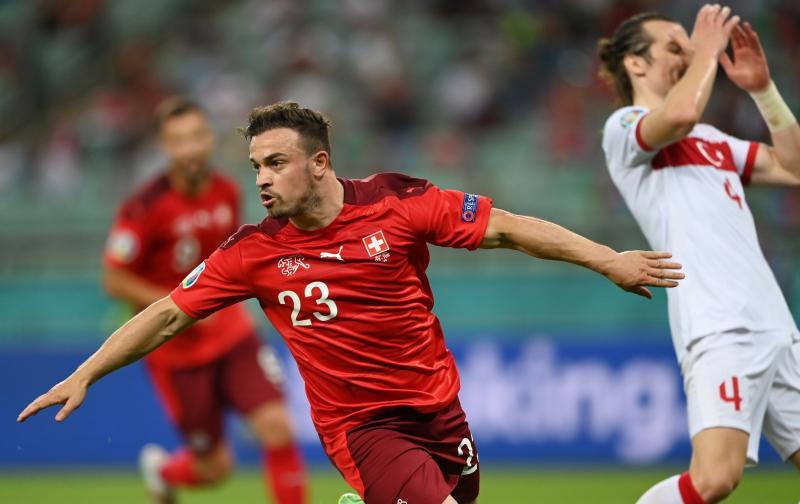Xherdan Shaqiri celebrates one of his goals in the match between Switzerland and Turkey