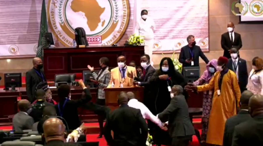 A fist fight between the representatives of the Pan African Parliament