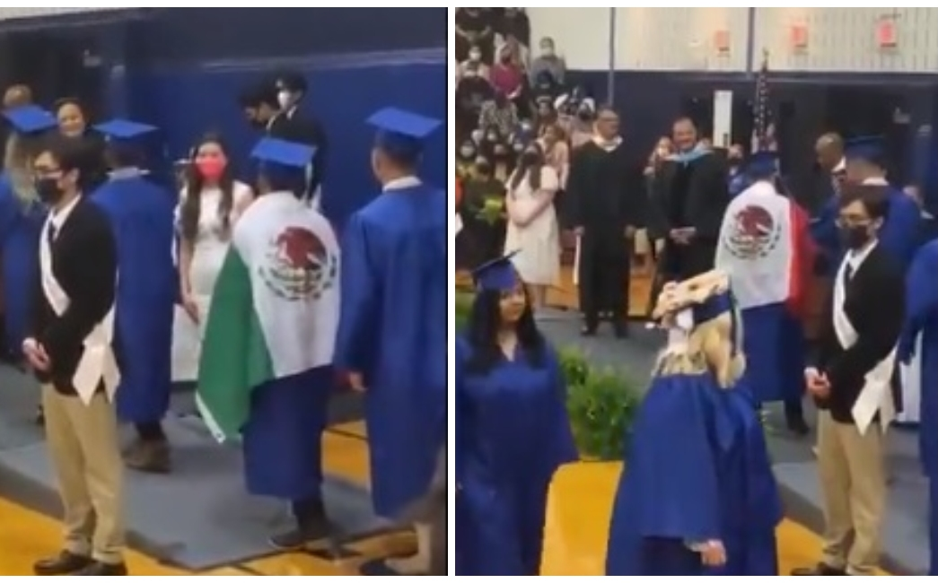 A school in the United States refuses to obtain a diploma for a student carrying the Mexican flag العلم