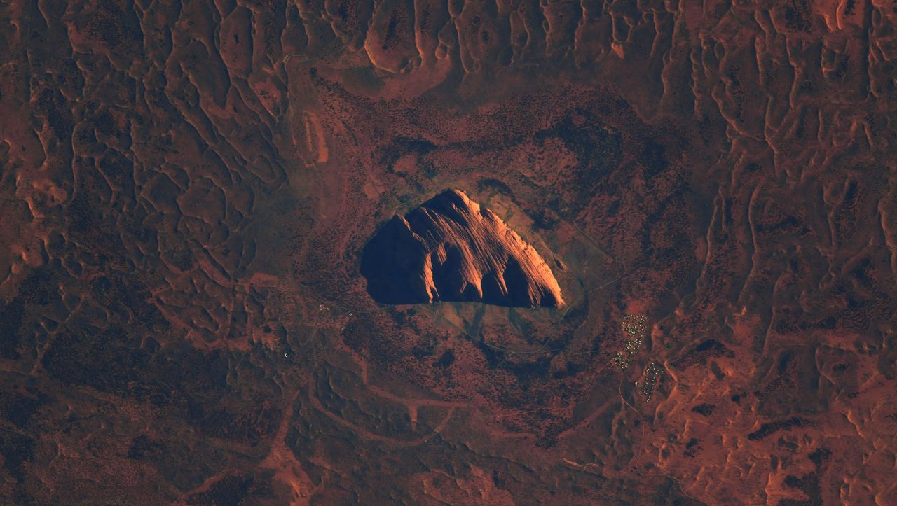 Uluru, formerly Ayers Rock: An Australian landmark from space