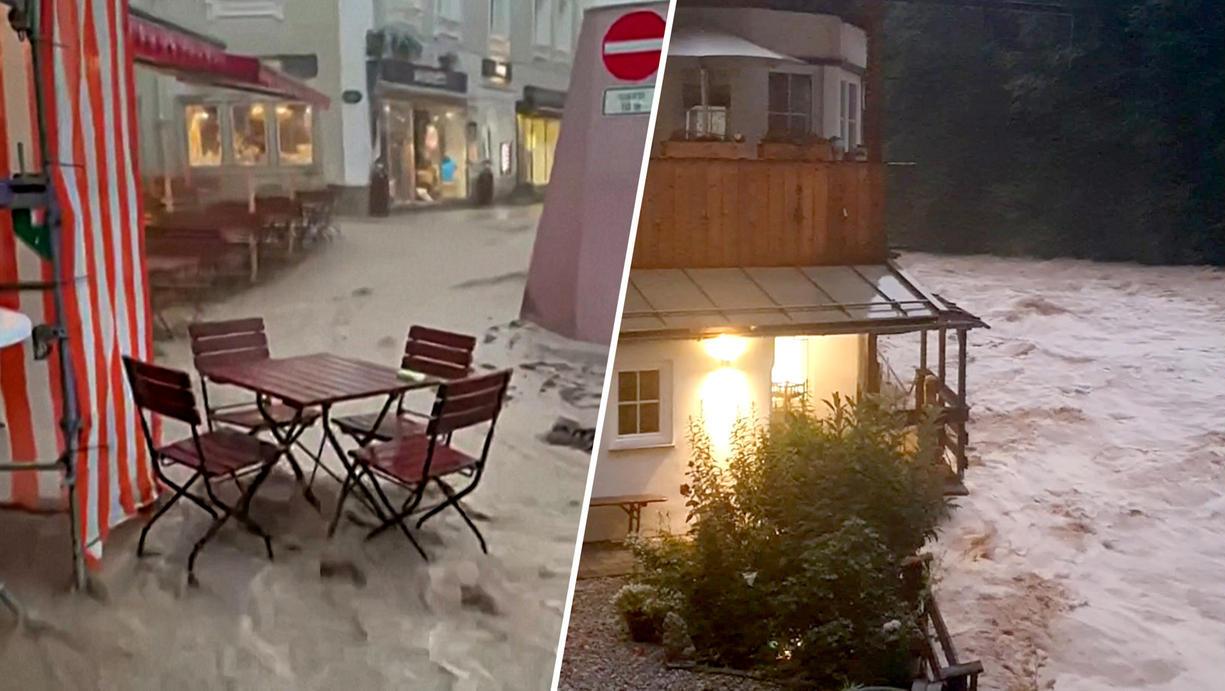Bavaria Flood: The city center of Berchtesgaden drowned
