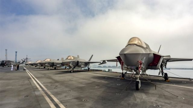The ockheed Martin F-35B Lightning II combat aircraft of the US Navy's 211th Fighter Squadron (VMFA 211) on the flight deck of HMS Queen Elizabeth in the port of Limassol, Cyprus, July 1, 2021.
