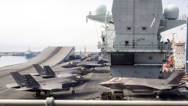 Lockheed Martin's F-35B Lightning II combat aircraft of the US Navy's 211th Fighter Squadron (VMFA 211) on the flight deck of HMS Queen Elizabeth in the port of Limassol, Cyprus, July 1, 2021.