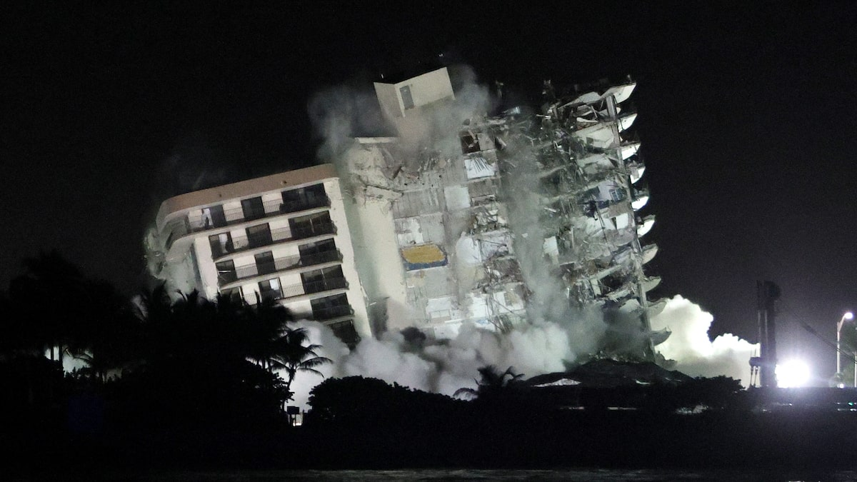 A collapsed Florida building was demolished before Storm Elsa arrived