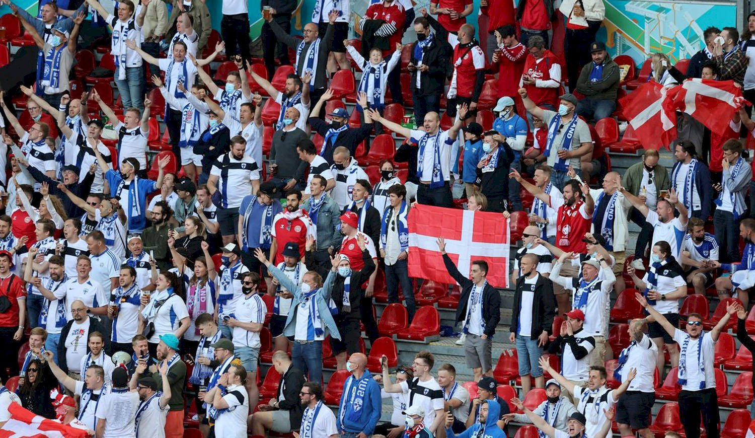 Exciting: Fans from Finland and Denmark rallied to cheer for Eriksen