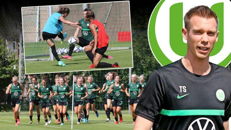 Auftakt: Der neue VfL-Trainer Tommy Stroot (r.) leitete seine erste Trainingseinheit am Wolfsburger Elsterweg.