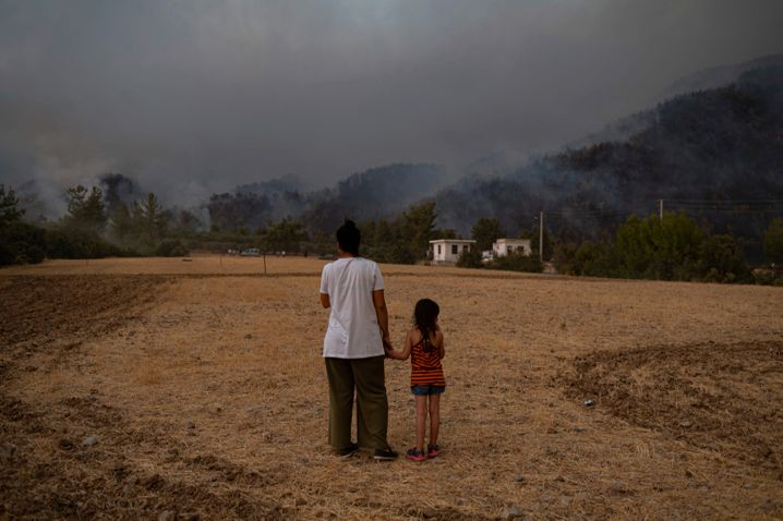 Smoke blows from fires in Turkey on August 3, 2021