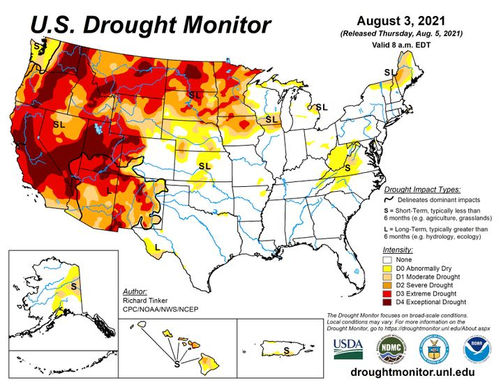 Drought monitoring in the USA: The West is deeply affected