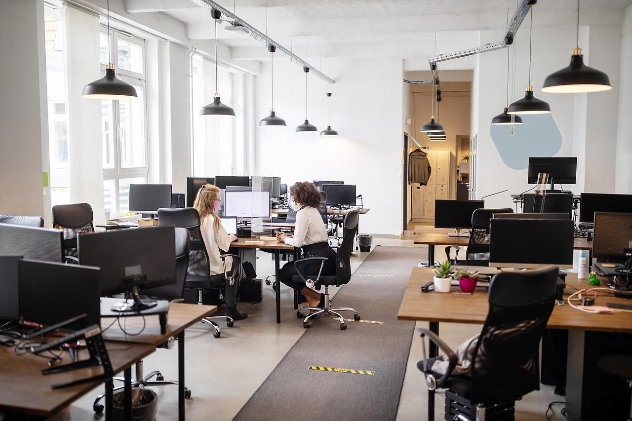 Two women working in an office