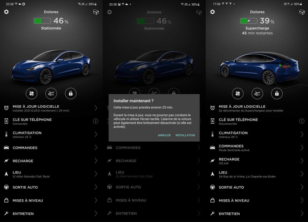 Update the car from the Tesla app