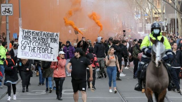 Protesters in Melbourne.