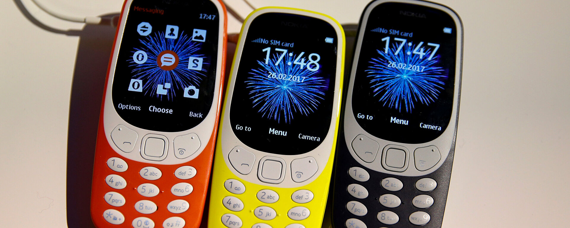 Nokia 3310 devices on display after their presentation ceremony at the Mobile World Congress in Barcelona, Spain, February 26, 2017. - Sputnik Mundo, 1920, 08.08.2021