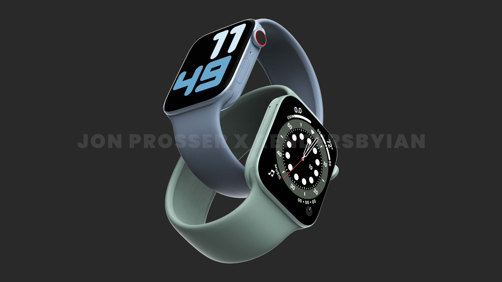 Apple Watch Series 7 flat screen, larger case up to 41mm and 45mm.