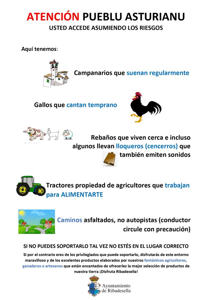Poster distributed by the Council of the Spanish village of Ribadesella