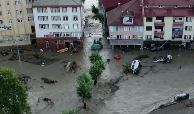 The number of flood victims in Turkey has increased.  Damaged bridges, roads and houses