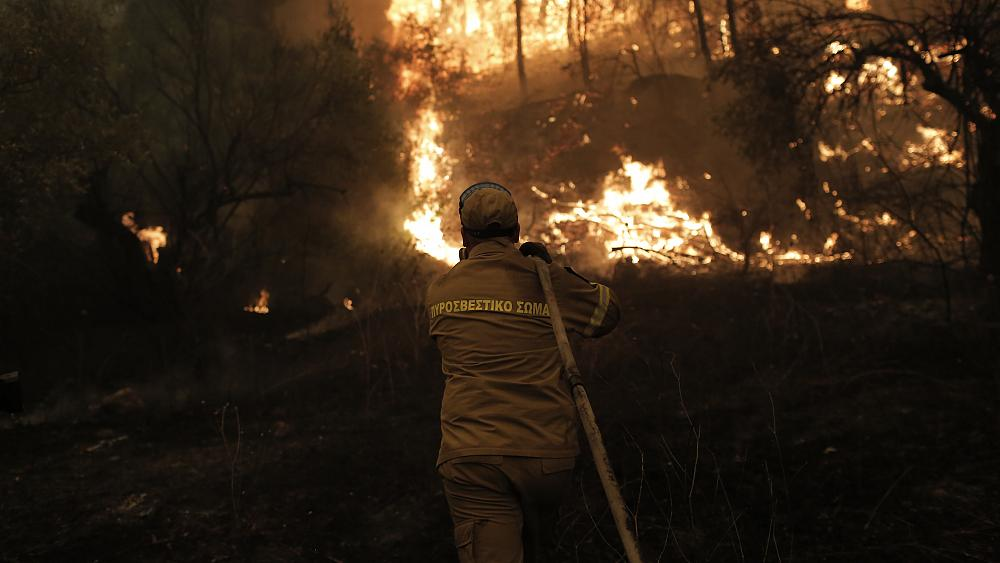 Watch: Ongoing wildfires in Greece force hundreds of residents to flee and destroy homes