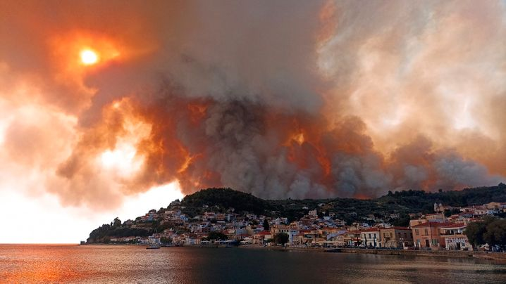 Fires in the Evia peninsula about 160 kilometers north of Athens