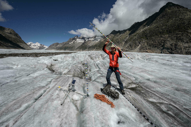 Matthias Haas on the Aletsch Glacier in Switzerland on August 25, 2021