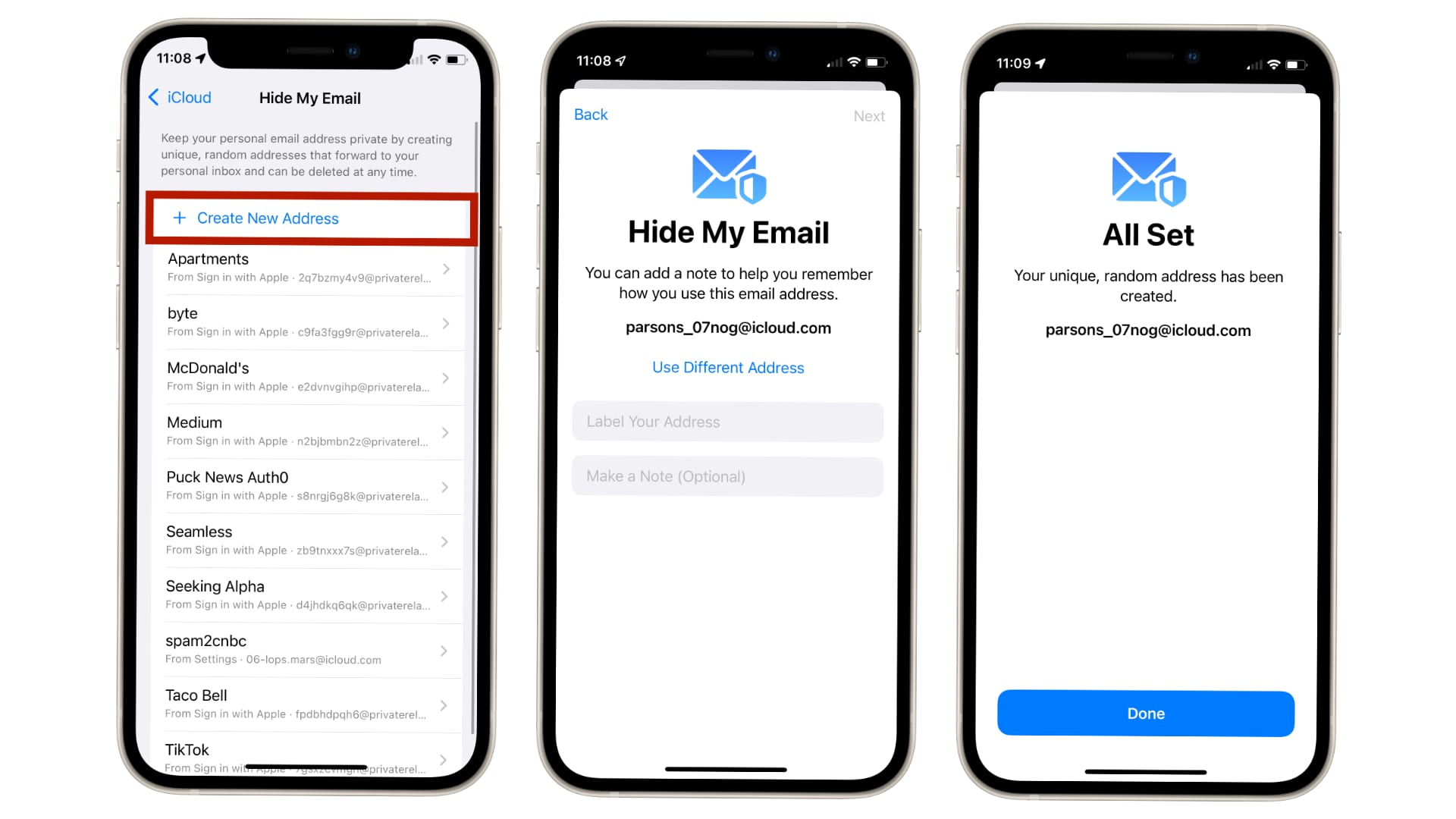 """Feature """"Hyde my email"""" Enables users to create a new temporary email address"""