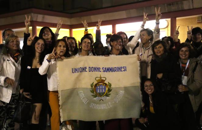 Feminist activists celebrate the decriminalization of abortion in San Marino, Italy, September 26, 2021.