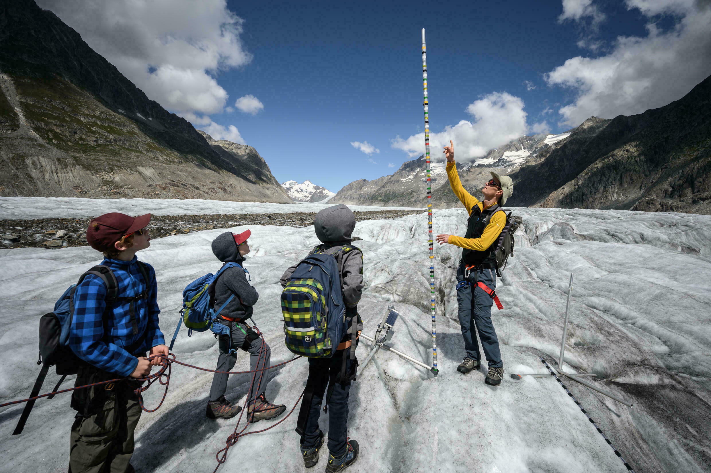 In the past decade, the glacier's 80 square kilometers of ice and rock has lost 1.5 meters in thickness every year.