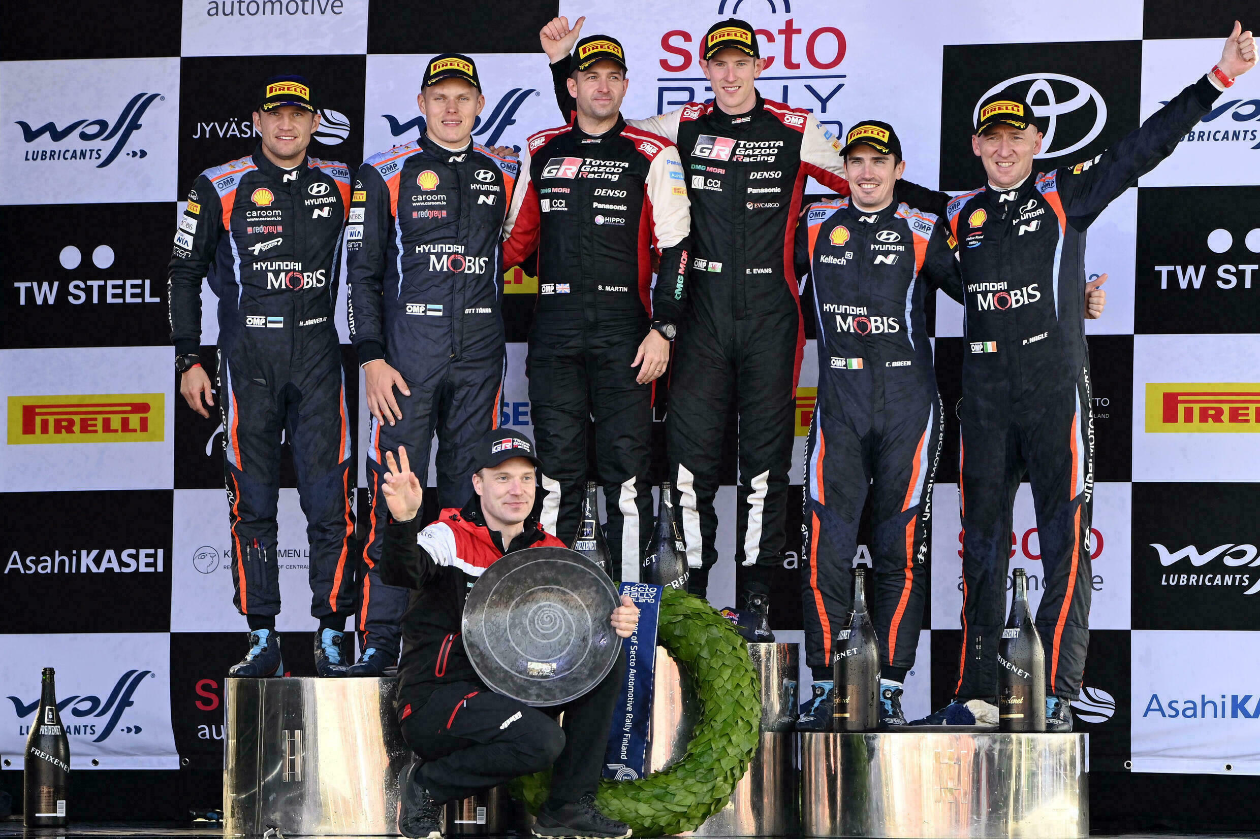 The podium at the Rally Finland, on October 3, 2021 in Lucknow