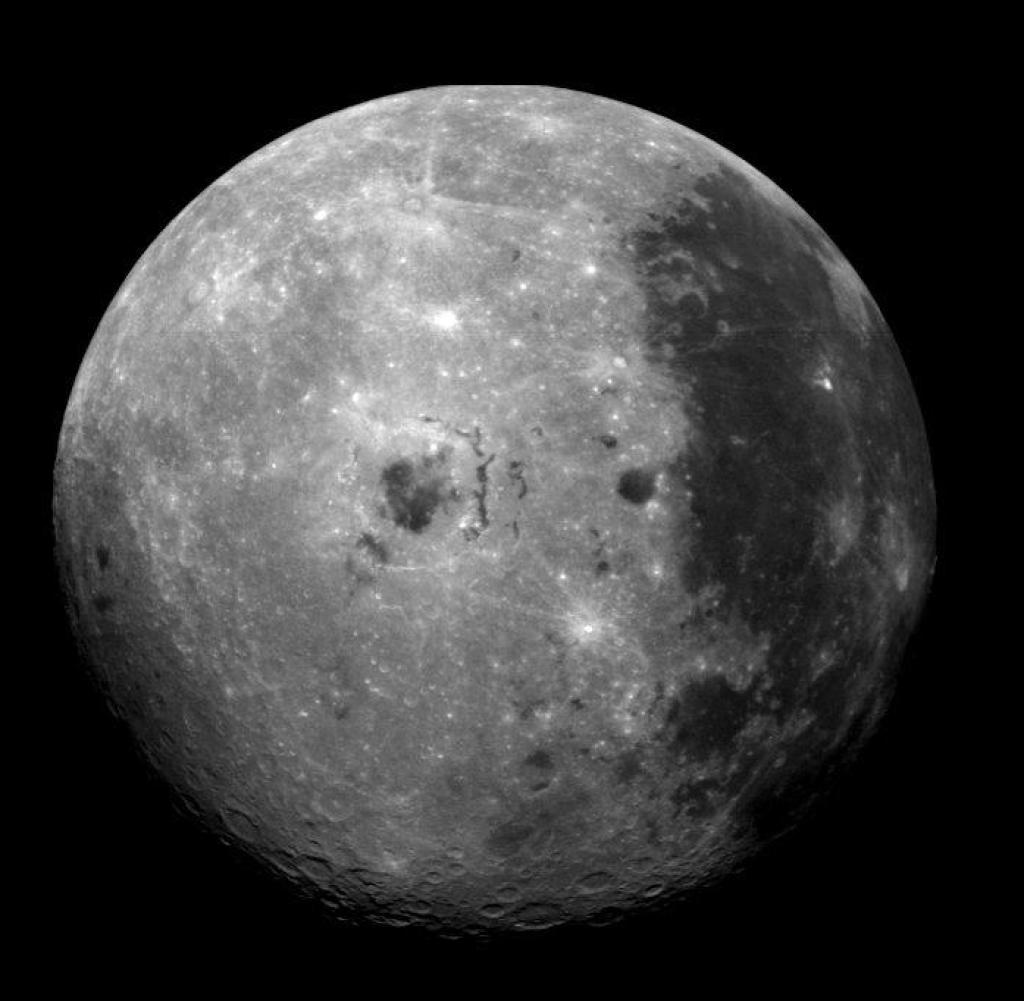 Image from the moon showing the dark surface of Oceanus Procellarum, ocean of storms, right